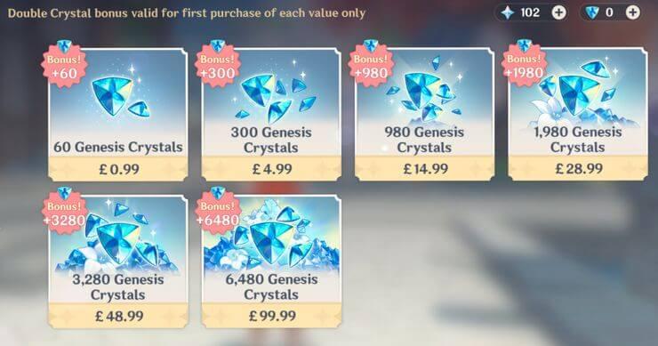 Giá gói đá sáng thế trong Genshin Impact