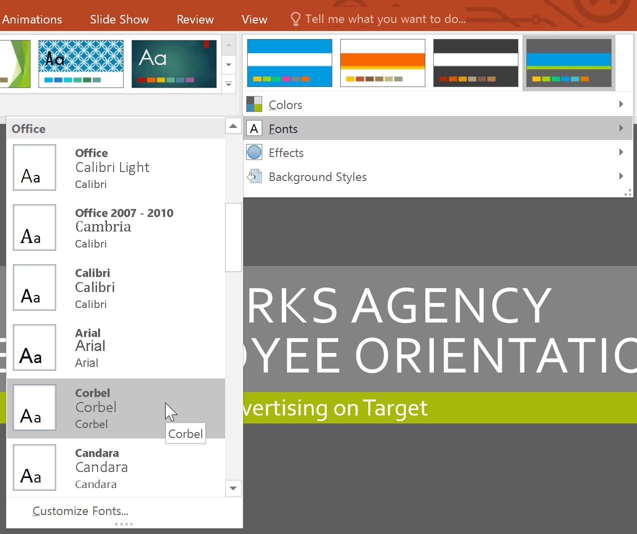 Chọn font theme yêu thích trong PowerPoint