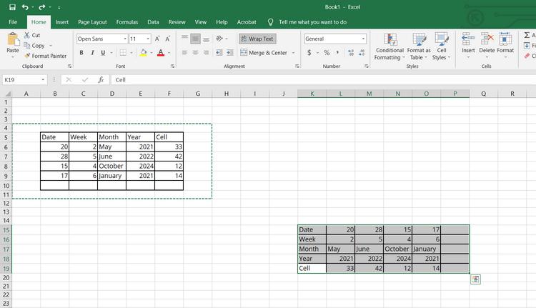 Chuyển hướng bảng trong Excel