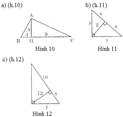 bai 8 trang 70 Giải Toán 9 Bài 1: Một số hệ thức về cạnh và đường cao trong tam giác vuông