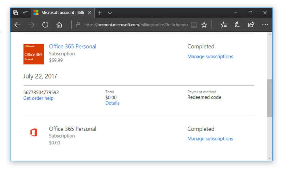 Gia hạn đơn hàng trên Office 365