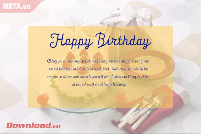 Thiệp chúc mừng sinh nhật gửi tặng chồng yêu