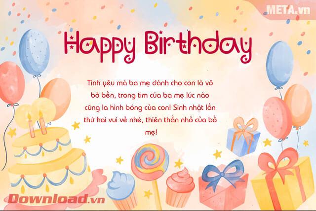 Thiệp chúc mừng sinh nhật em bé