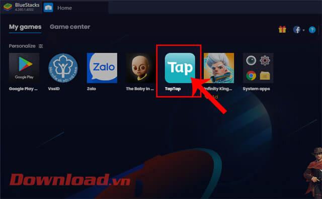 Nhấn vào kho ứng dụng TapTap