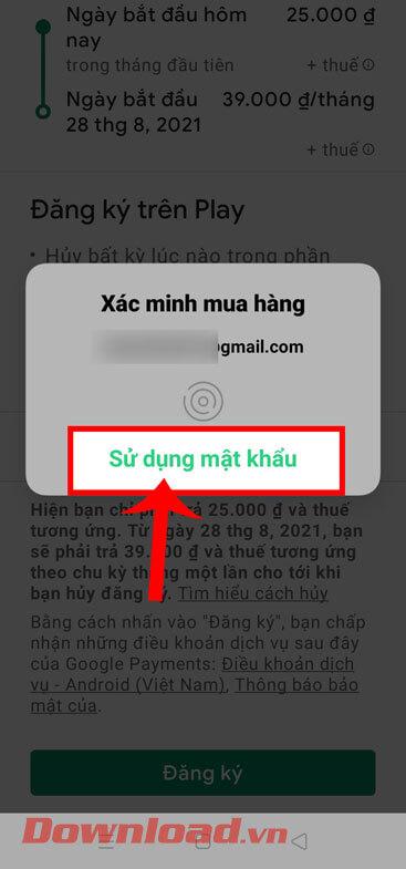 Chạm vào nút Sử dụng mật khẩu