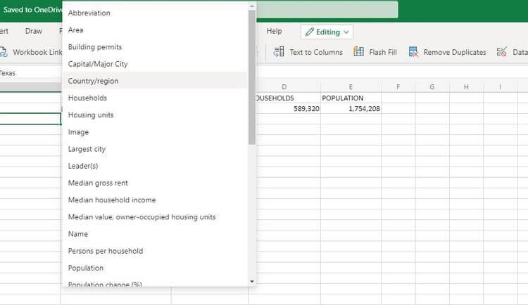Chọn kiểu dữ liệu địa lý trên Excel
