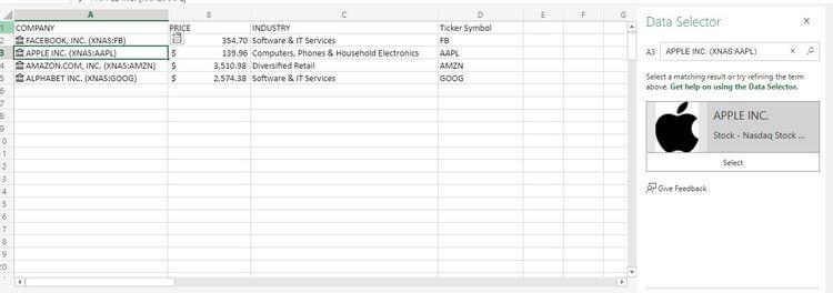 Thay đổi dữ liệu địa lý trong ô Excel