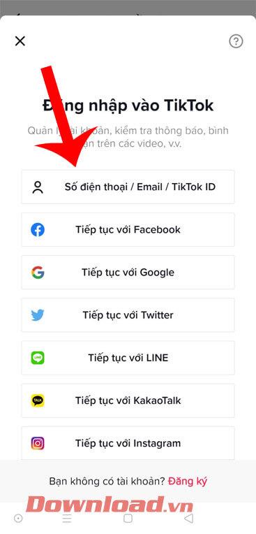 Đăng nhập tài khoản TikTok