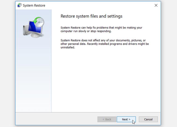 Khôi phục file hệ thống và cài đặt
