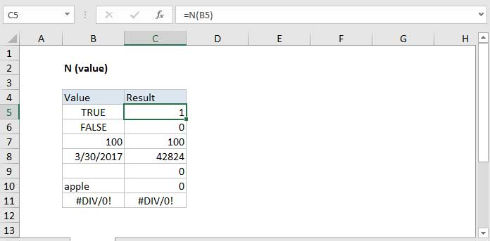 Cách dùng hàm N trong Excel