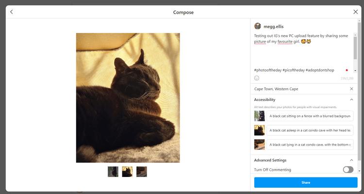 Đăng ảnh thành công trên Instagram cho PC